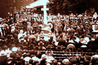 Unveiling the Memorial Cross in St Mary's Churchyard to Wivenhoe's fallen 21st June 1921.   Wivenhoe Memories Collection