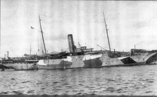 Venetia in camouflage 1917-1918.  The forward  gun platform can be seen but the gun itself is hard to spot against the background. | Nottage Maritime Institute 00109