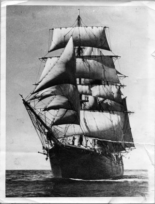 Cap Pilar under full sail 1936 - 1938  World circumnavigation by Adrian Seligman. | Nottage Maritime Institute