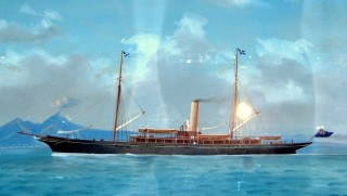 A pre-war pierhead painting of the third steam yacht Rosabelle in the Bay of Naples. | Nottage Maritime Institute 00606