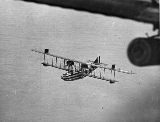 A Felixstowe F3 flying boat on patrol over the North Sea.  The hulls for some of of these aircraft were built by Rennie Forrestt at Wivenhoe. | Nottage Maritime Institute 01107x
