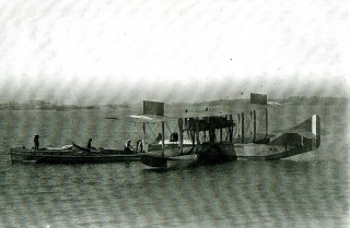 The prototype Felixstowe F3 flying boat from the RNAS base at Felixstowe.  Some of the station's supporting boats were built at Wivenhoe. | Nottage Meritime Institute 01123f