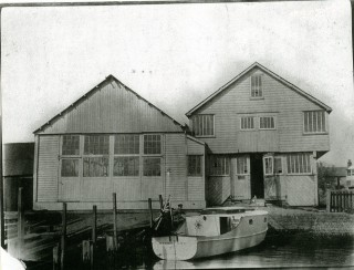 Marion, newly completed, outside Husk's boat building sheds. These sheds were still there when James W. Cook closed and were finally demolished to make way for the Cook's Yard housing development.