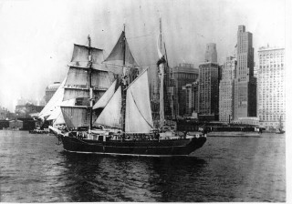 The Cap Pilar visiting New York during her round the World voyage.  Her barquentine rig is clearly shown in this view. | Nottage Maritime Institute 02066