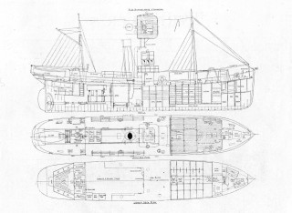 A drawing of the basic layout of the Straith class trawlers as built by Rennie Forrestts.   Nottage Maritime Institute 02380.19