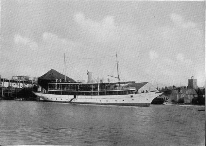 The Governor of Gambia's yacht built in 1913.  Note the gantry that was next to the building slipway on the left of the picture and the church tower to the right. | Nottage Maritime Institute 02380..27  - Cropped