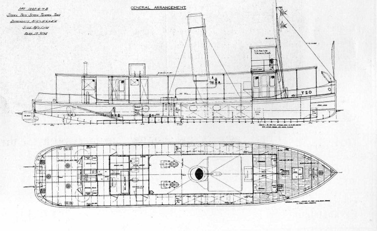 A plan of the tunnel screw tugs built for the Royal Engineers for use in Mesopotamia. | Nottage Maritime Institute 02380..42