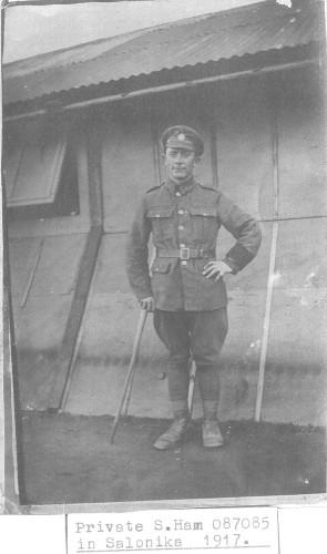 Private 087085 Ham S. in Salonika 1917. | Nottage Maitime Institute 02744
