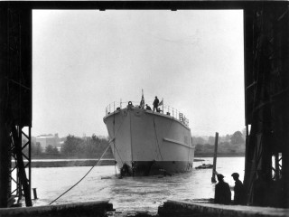 The launch of H.M.S. Calton, the first of the three Coastal minesweepers built by Wivenhoe Shipyard Ltd, was launched on 2nd June 1953. | Nottage Maritime Institute 02842x