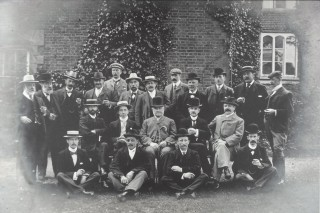 Wivenhoe Hall, gentlemen of the 1902 Coronation Committee in the garden.  Who were they all?   Nottage Maritime Institute 04329.51h