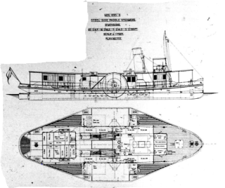Plan of the paddle tugs built by Rennie Forrestt Shipbuilding, Engineering & Dry Dock Co. Ltd for the Royal Engineers for use in Mesopotamia. | Nottage Maritime Institute 04332.4.065d