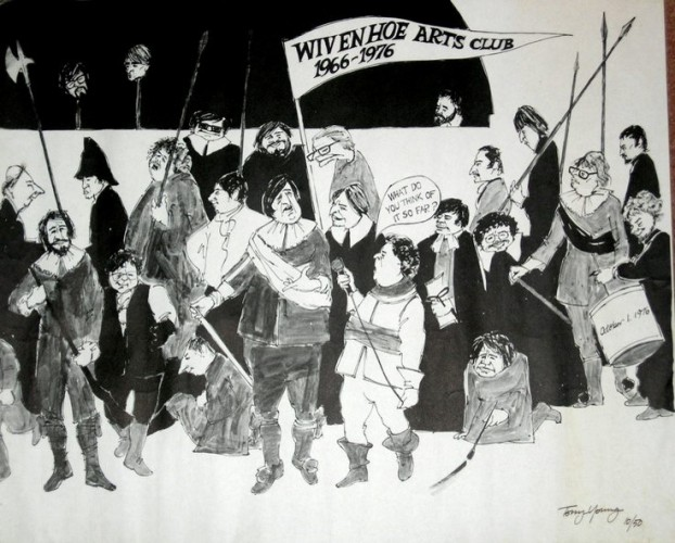 The Wivenhoe Arts Club celebrating 10 years of existence  | From an original drawing by Tony Young owned by Lewis Footring and reproduced here by his kind permission