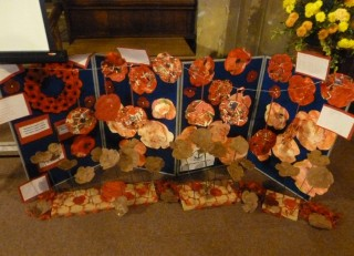 Poppies and poppy wreaths made by Broomgrove Infants School made as part their WW1 project  | Photo; Peter Hill