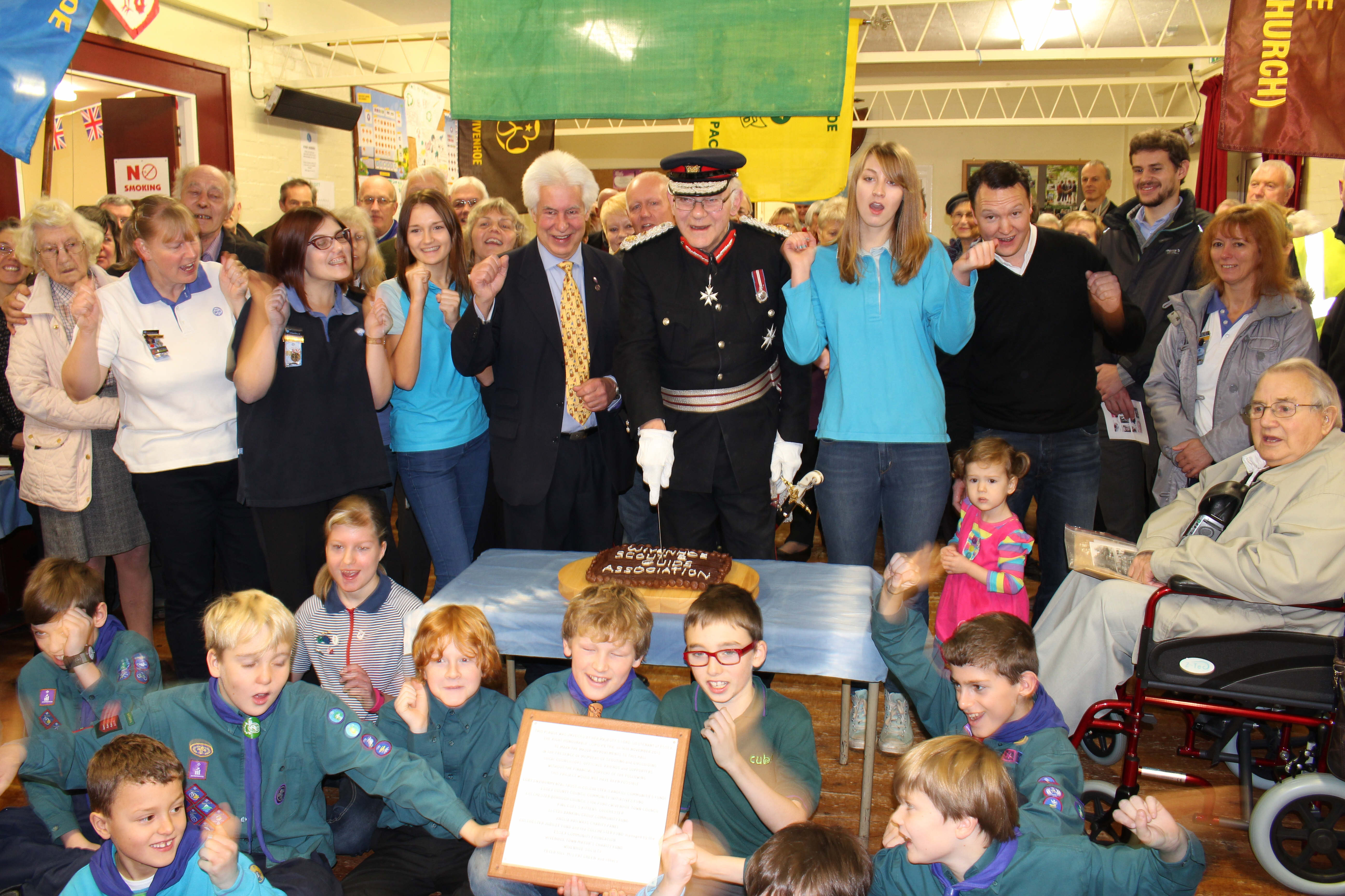 The cake being cut by Lord Petre, Lord Lieutenant of Essex with Peter Hill, Chairman of the Association, at the ceremony held on Sat 16th November 2013 to mark the completion of the Hall Refurbishment Project