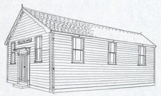 Line drawing of the original chapel