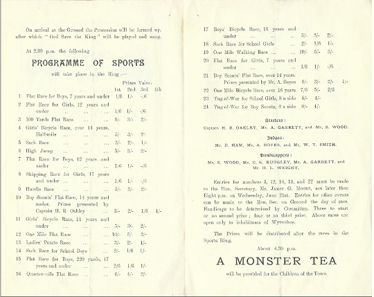 The inside pages of the Coronation Programme 1911