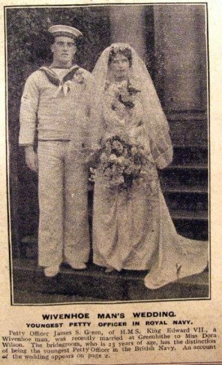 Wedding picture of Petty Officer James Samuel Green to Dora Wilson on 12th June 1915. Petty Officer James Green has the distinction of being the youngest Petty Officer in the Royal Navy.     Wivenhoe Memories Collection
