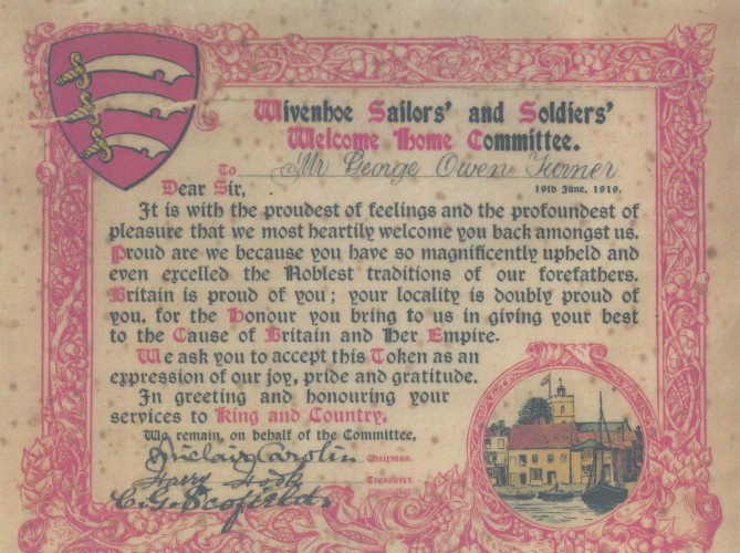 The Certificate presented to George Owen Turner on his return from service in WW1. George Turner served in the 5th Battalion of the Essex Regiment.  | Wivenhoe Memories Collection