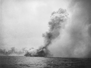The final moment of H.M.S. Queen Mary at the Battle of Jutland.   IWM Photo from their WWI commemorative collection