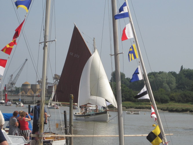 Framed by masts and bunting, the smack Primrose comes home with her sails nicely filled.  | John Collins