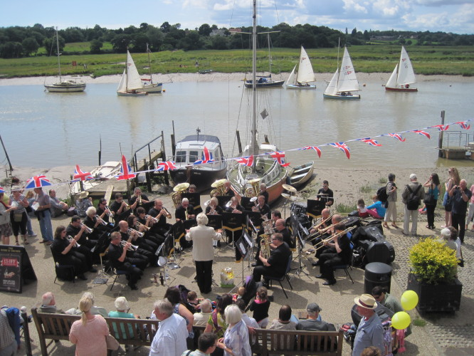 The Silver Band provide the background music for the Wivenhoe One Designs' Race. | John Collins
