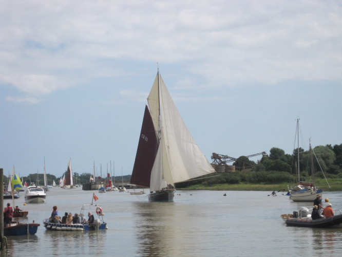 Light winds for the 2012 Regatta meant that the smacks finished their race ghosting up the river with every sail they could carry.  A fine sight they made too. | John Collins