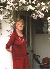 Joan Hickson in the doorway of her home in Wivenhoe