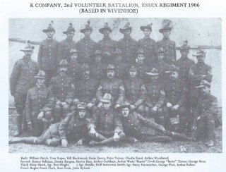 A picture of K Company, 2nd Volunteer Battalion, Essex Regiment in 1906 who were based in Wivenhoe