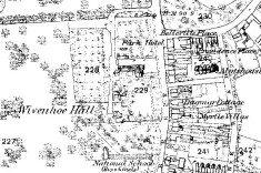 Map of Wivenhoe 1874 showing the grounds of Wivenhoe Hall