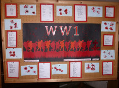 The display board created by Millfields Primary School Year 6 in 2014 as part of their WW1 Commemoration project