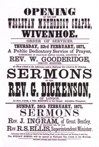 Poster announcing dedicatory service