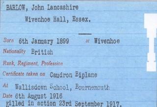 2nd Lt. John ('Mad Jack') Lancashire BARLOW, R.F.C. (died 23 September 1917) | John Stewart N.M.I