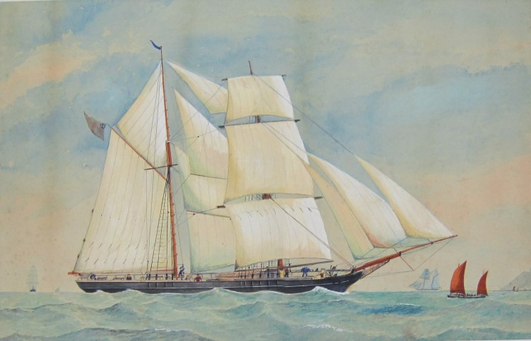 A painting of the brigantine Jessie Annandale off the South Coast by an unknown artist | Nottage Maritime Institute 00462