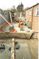 The extension to the original Hall in progress in 1989