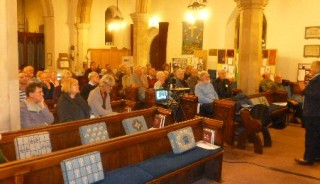 The audience for Dr Paul Rusiecki's talk in St Mary's Church on 17th October 2014   | Photo: Peter Hill
