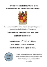 Poster for the 1st public Wivenhoe History Group talk about the De Vere's
