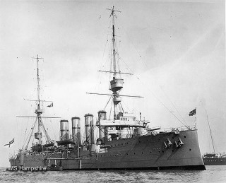 The HMS Hampshire which struck a mine and sank off Orkney | From www.hmshampshire.co.uk