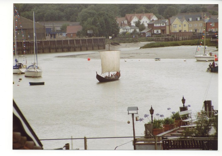 Another Viking invasion?  No, just the half-size replica Wolf-cub making a showing. | Jan Ward (Nottage Maritime Institute)