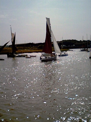 The Smack Race finished rather late in the afternoon; Mary CK252 sails home in sparkling ripples.  The Mary was built at Brightlingsea in 1900.
