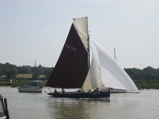 Dorothy, built  in 1899 by Aldous at Brightlingsea, finishes the 2013 Smack Race.