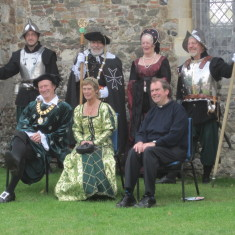 The Church Ale dignitaries; front row: The Mayor, Cllr Robert Needham and his partner Audrey; the Rector, Erwin Lammens; behind them: two pikemen of the Colchester Town Guard with two aristocratic personages in period costume.     John Collins