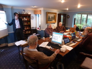 Jack Latimer from software providers Community Sites conducting a second day's training for John Collins, Eric Strudwick, Ian Valentine, Mike Downes, Daisy Giddings, John Foster and Peter Hill | Photo: Peter Hill