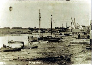 Wiv Quay c. 1920s/30s showing fishing smacks and up stream shipyard | Wivenhoe Memories