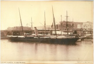 The steam yacht Lady Torfreya at Naples.  Soon to become the Valfreyia. | Nottage Maritime Institute