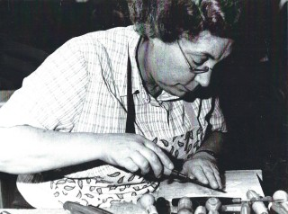 Barbara Husk woodcarving a lid for a stationery box c. 2010