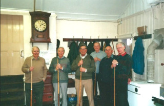 Colne Social Club in 2001 - Snooker players (L-R): Jack Mallett, Vic Williamson, Richard Joel, George Brimm, Tony Forsgate, and Bert Mayhew  | Photo loaned by David Wright