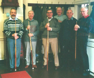 Colne Social Club in 2001 - Snooker players (L-R): David Wright, Vic Williamson, Richard Joel, George Brimm, Tony Forsgate, and Bert Mayhew | Photo loaned by David Wright