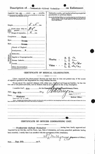The medical evidence of Fred Nicholl's fitness to serve | Copy of this ceryificate supplied by Mary Norris