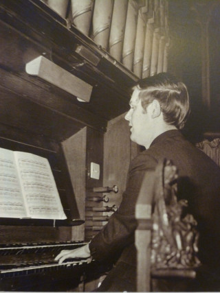 Graham Wadley as a young man playing the organ at St Mary's Church