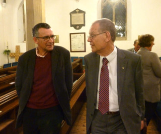 Graham Wadley in conversation with MP Bernard Jenkin who came to Graham Wadley's celebration event | Photo by Peter Hill
